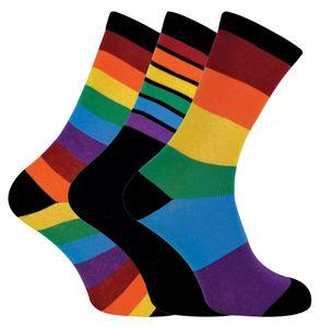 Sock Snob - 3er Pack Herren und Damen Baumwolle Bunt Streifen Regenbogen Socken