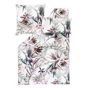 """Estella Mako Satin Bettwäsche """"Kaia"""" 7549 Baumwolle, Blumen, verde : 135x200 cm + 80x80 cm"""