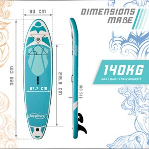 Physionics® SUP Board - 305/320/366 cm, Aufblasbar, Handpumpe mit Druckmesser, Rucksack - Paddling Board, Surfboard (320 cm, Nymph mintgrün)