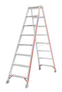 Hymer Stufenstehleiter, beidseitig begehbar, 2x8 Stufen, senkr. Höhe 1,84 m, Reichhöhe 3,34 m, Gewicht 8,8 kg
