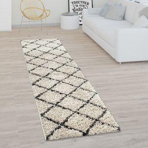 Hochflor-Teppich, Shaggy Für Wohnzimmer, Skandi-Stil U. Rauten-Design In Beige, Grösse:160x220 cm