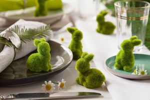 Mini-Hase 'Moos', 12er Set Ostern Tisch Deko Hase Osterei Osterfest