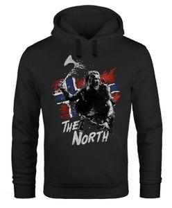 Hoodie Herren The North Wikinger Berserker Norwegen Valhalla Odin Ragnar Print Aufdruck Fashion Streetstyle Neverless® schwarz L