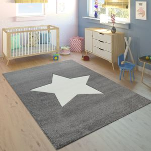 Kinderteppich Kinderzimmer Jungen Mädchen Modern Großer Stern In Grau Weiß, Grösse:160x230 cm