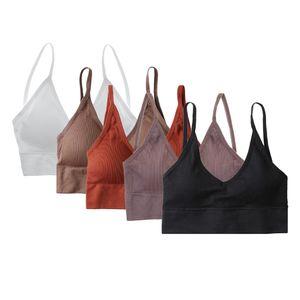 5 Stück Damen V Ausschnitt Gepolstert Bralette Beach Comfort BH Bustier Sport BH Set