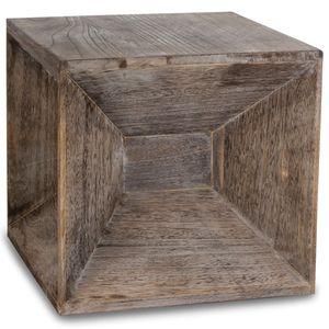 Homestyle4u 1772, Vintage Hocker Beistelltisch Holz, Würfel Nachttisch Braun Grau
