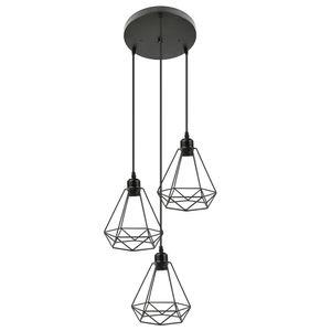 WYCTIN Hängeleuchte Deckenlampe schwarz Metall Vintage Industrie Retro E27 Käfig