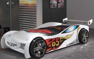 VIPACK Autobett Le Mans l Kinderbett l 90 x 200 l Sportwagen l Weiß