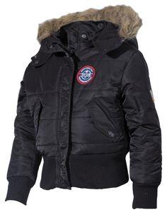MFH US Kinder-Polarjacke, N2B,schwarz, Kapuze mit Fellkragen