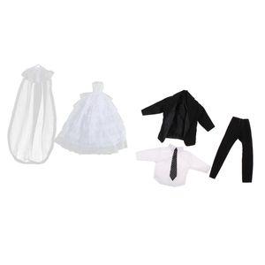 weißes Brautkleid Kleid w. Schleier \\u0026 schwarzer Smoking für Barbie / Ken Puppenzubehör