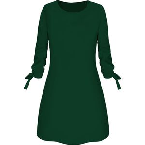 Damenmode O-Ausschnitt Solid Bow Elegant Straigth Kleid Spring Loose Mini Kleider Größe:L,Farbe:Grün