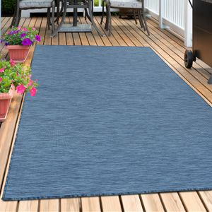Sisal Optik Teppich In- & Outdoor Flachgewebe Uni Naturoptik Marienblau Blau, Farbe:BLAU,80 cm x 150 cm