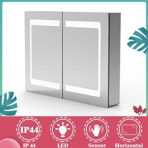 LED Spiegelschrank 80x60 cm Badschrank Badspiegel Badezimmerspiegel mit Infrarot-Sensor-Schalter Aluminium Rahmen IP44