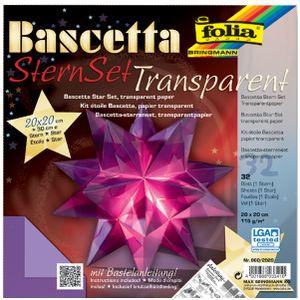folia Faltblätter Bascetta-Stern 200 x 200 mm 115 g/qm 32 Blatt violett-transparent