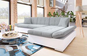 Mirjan24 Ecksofa Malwi mit Regulierbare Armlehnen Eckcouch mit Schlaffunktion und Bettkasten, L-Form Sofa vom Hersteller (Soft 017 + Bristol 2460, Ecksofa: Rechts)