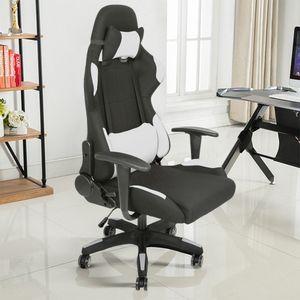 Bürostuhl Chefsessel Schreibtischstuhl Racing Stuhl, Ergonomischer  Drehstuhl Weiß- Material:Stoff