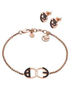 Emporio Armani EGS2587221 Damen Armband Set Rose Schwarz 20 cm