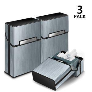 3 Stück Zigarettenbox Metall mit Magnetverschluss, Zigarettenetui aus Alu, Verstärktem Kunststoffgehäuse & Einrast Funktion,grau