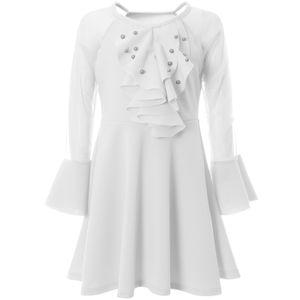 BEZLIT Mädchen Fest Lang Arm Kleid mit schwingendem Rockteil Weiß 128