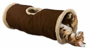 Katzentunnel mit Lammfell und Spielzeug - braun