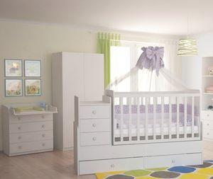 Polini Kids Kinderzimmer Set in weiß Kommode Schrank Bett, 62028