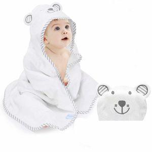 Babybadetuch Babyhandtuch mit Kapuze, 100%Bambusfaser, 90 x 90, extra weich und dick, saugfähig, süße Bärenstickerei, perfektes Geschenk für Babys