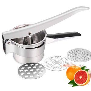 Kartoffelpresse Spätzlepresse Eispresse aus Edelstahl - Presse für Spätzle Kartoffeln Eis Obst Gemüse - inklusive austauschbarer Scheiben