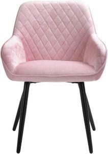 Sigtua, Polsterstuhl umgebener Design-Esszimmerstuhl aus Samt Pink Lehnstuhl edel Design Küchenstuhl Wohnzimmerstuhl Schmink Stühle Sessel weich Kissen Sitz und Rücken Besucherstühle mit Lehne Rosa