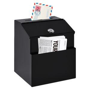HOMCOM Vorschlagsbox Spendenbox Briefkasten zur Wandmontage Mailbox  aus Stahl mit Schloss Sammelbox Schlüsselbox Schwarz 15 x 18 x 22 cm