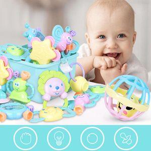 10 Stück / Set Tragbares Baby Rasseln Beißring Shaker Grab & Spin Rassel Spielzeug Set Lernspielzeuge Baby Spielzeug Rosa Box