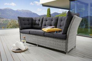 Destiny 3er Loungesofa Palma Vintage weiß Lounge Sofa Bank Gartensofa