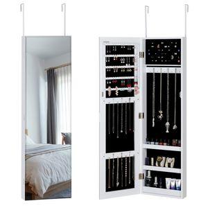 Casaria Schmuckschrank Schmuckständer hängend für Tür- & Wandmontage mit / ohne LED, Farbe:weiß