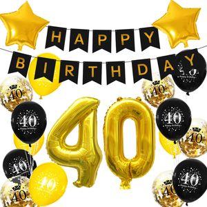 Oblique Unique 40. Geburtstag Party Deko Set - Happy Birthday Girlande + Zahl 40 Ballons + Konfetti Luftballons