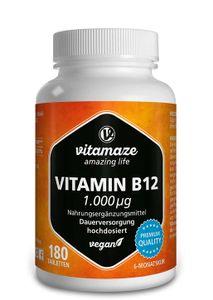 Vitamin B12 1.000 µg Methylcobalamin hochdosiert & vegan, 180 Tabletten für 6 Monate