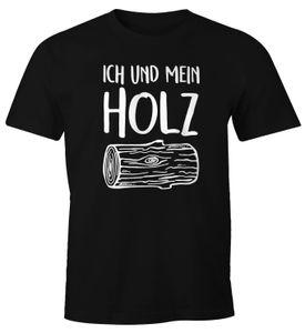 Herren T-Shirt Ich und mein Holz Fun-Shirt Moonworks®  XL