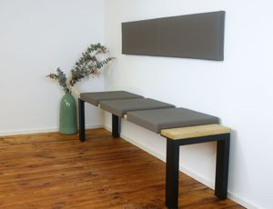 Klemmkissen Sitzkissen mit 2 Leisten 37cm Klemm-Tiefe Kunst-Leder braun schwarz beige grau taupe, Farbe:taupe