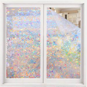 Fensterfolie Selbsthaftend Blickdicht Sichtschutzfolie Fenster 3D Fensterfolie 60 x 200 cm Sichtschutz Glasfolie Statisch Haftend UV-Schutz ohne Kleber Dekofolie