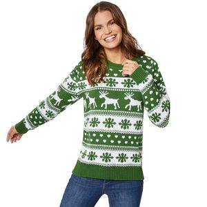 dressforfun Weihnachtspullover Winterzauber grün-weiß für Frauen - S