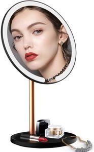 Kosmetikspiegel mit Licht mit USB Schminkspiegel Led Wandmontage 3 Farbeinstellungen Tischspiegel Beleuchtet 360°Schwenkbar Magnet schminkspiegel mit 5 Fache Vergrößerung Schwarz Gold