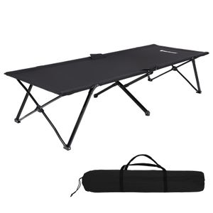 SONGMICS Campingbett schwarz Oxford-Gewebe XL 206 x 75 x 45 cm bis 260 kg belastbar Feldbett  Stahl Gartenliege Sonnenliege GCB25H