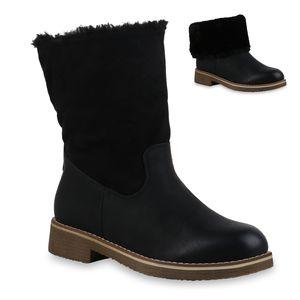 Mytrendshoe Damen Winter Boots Warm Gefütterte Stiefeletten Zipper Stiefel 835820, Farbe: Schwarz, Größe: 40