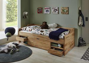 Relita Kojenbett LEVI 90x200 Buche massiv natur lackiert, inkl. Rollrost, 2 kleine Schubladen, 2 offene Fächer, 1 große Schublade