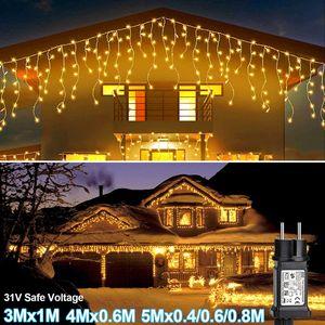 5MX0.4M+0.6M+0.8M LED Lichtervorhang Lichternetz Innen Außen Garten Weihnachtsbeleuchtung Deko Warmweiß