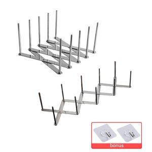 Küchenutensilien Organizer Edelstahl Topf Deckel Tellerhalter Rack Erweiterbar 4 Abschnitt Einstellbare Länge Küchenhelfer 2 Teilig
