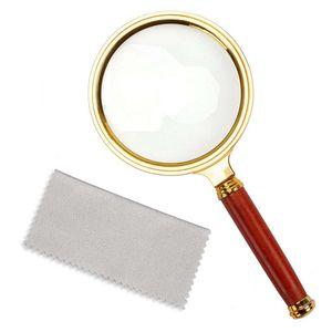 ZQYRLAR 10X Handlupe, Leselupe Lupenbrille 10X mit Palisandergriff zum Lesen von Büchern und Zeitungen, Insekten- und Hobbybeobachtung, Unterrichtswissenschaft