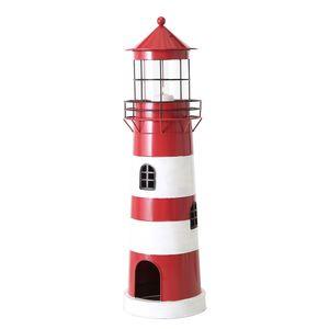 Laterne LEUCHTTURM rot weiß aus Metall Windlicht maritim Strandhaus Deko - GROSS