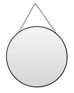 Spiegel rund Wandspiegel Metall schwarz Glas Schminkspiegel Dekospiegel(Rund)