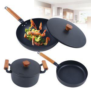 3 Stk Antihaft-Bratpfanne Set Gusseisen Suppentopf Wok w/ Deckel Kitchen 20-30CM