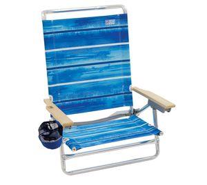 Rio Brands Strandstuhl Deluxe 20 cm blau Gartenstuhl Lesestuhl Klappstuhl Sandstuhl Relaxstuhl