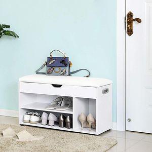 VASAGLE Schuhschrank mit Sitzkissen Stauraum 80 x 44 x 30 cm für 7 paar Schuhe Schuhregal bis 150kg belastbar Schuhbank weiß LHS30W